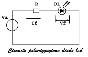 circuito polarizzazione diodo led