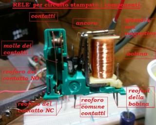 2 relè per circuito stampato e suoi componenti
