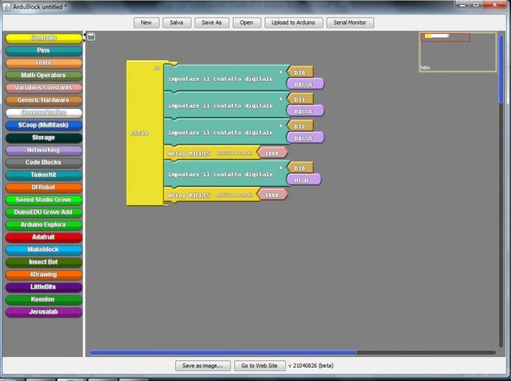 Arduino: realizzazione di uno sketch con ArduBlock